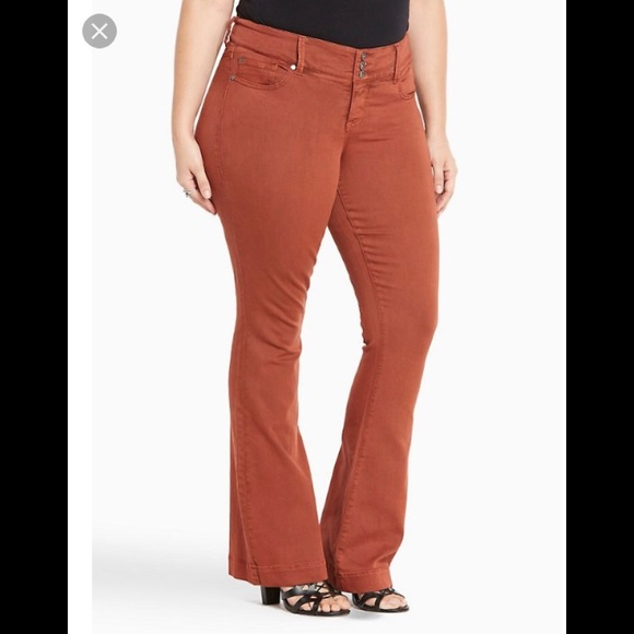 6f45774ff51 Torrid Rust stretch denim flare leg pant NWT